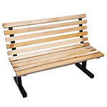 "John Boos CPB60-M Convenience Park Bench With Back, Slatted, Steel Tube Frame, 60"" Maple"