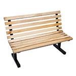 John Boos CPB96M Convenience Park Bench With Back, Slatted, Steel Tube Frame, 96 in Maple
