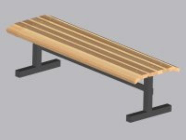 John Boos CPF60M Convenience Park Bench No Back, Slatted, Steel Tube Frame, 60 in Maple