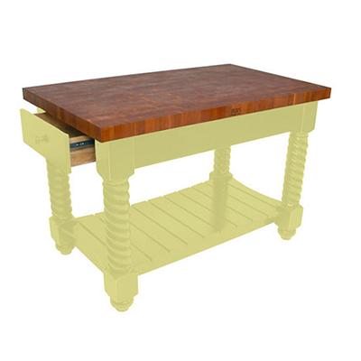 John Boos CHY-TUSI5432225EG BY Tuscan Island, Cherry Edge Grain Top & 2-Drawer, 54x32x1.75-in, Buttercup Yellow