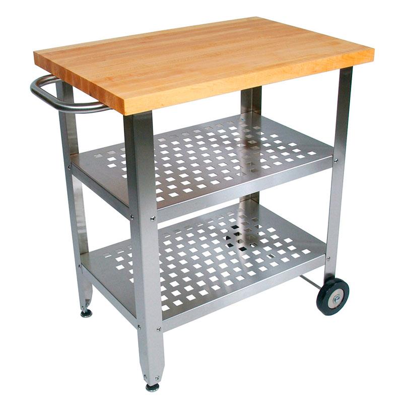 John Boos CUCAV01 Cucina Elegante Cart, 20 x 30 x 35 in H, S/S Base, 1.5 in Maple Top
