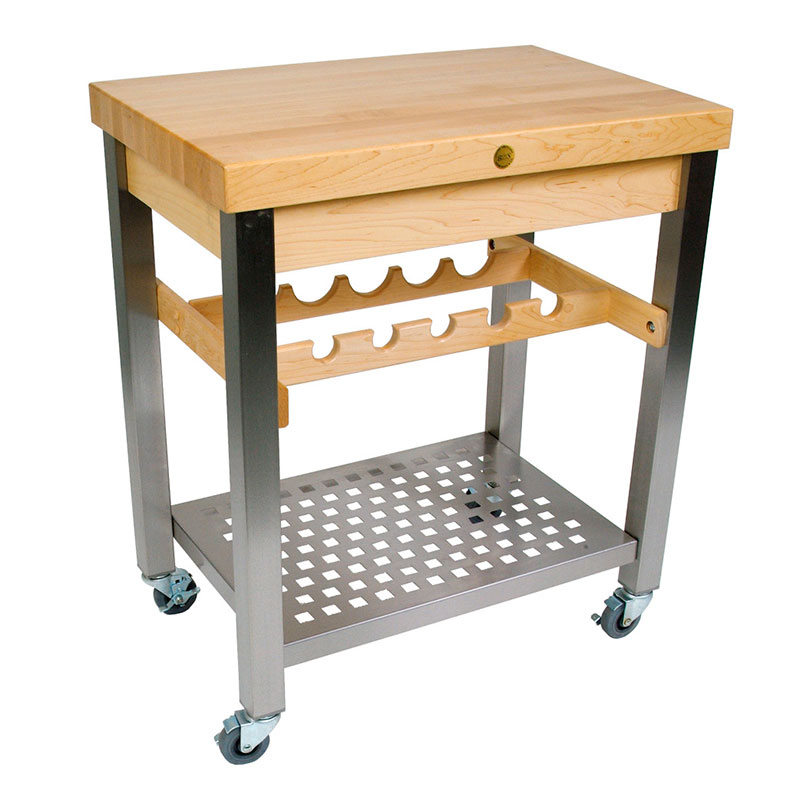 John Boos CUCD09 Cucina D'Vino Cart w/ Hard Rock Maple Top & Wine Rack, 35x20x30-in