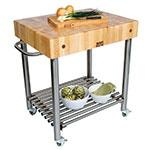 """John Boos CUCD15 Cucina D'Amico Cart, 24 W x 30 L x 35""""H, Stainless Shelf, Maple Top"""