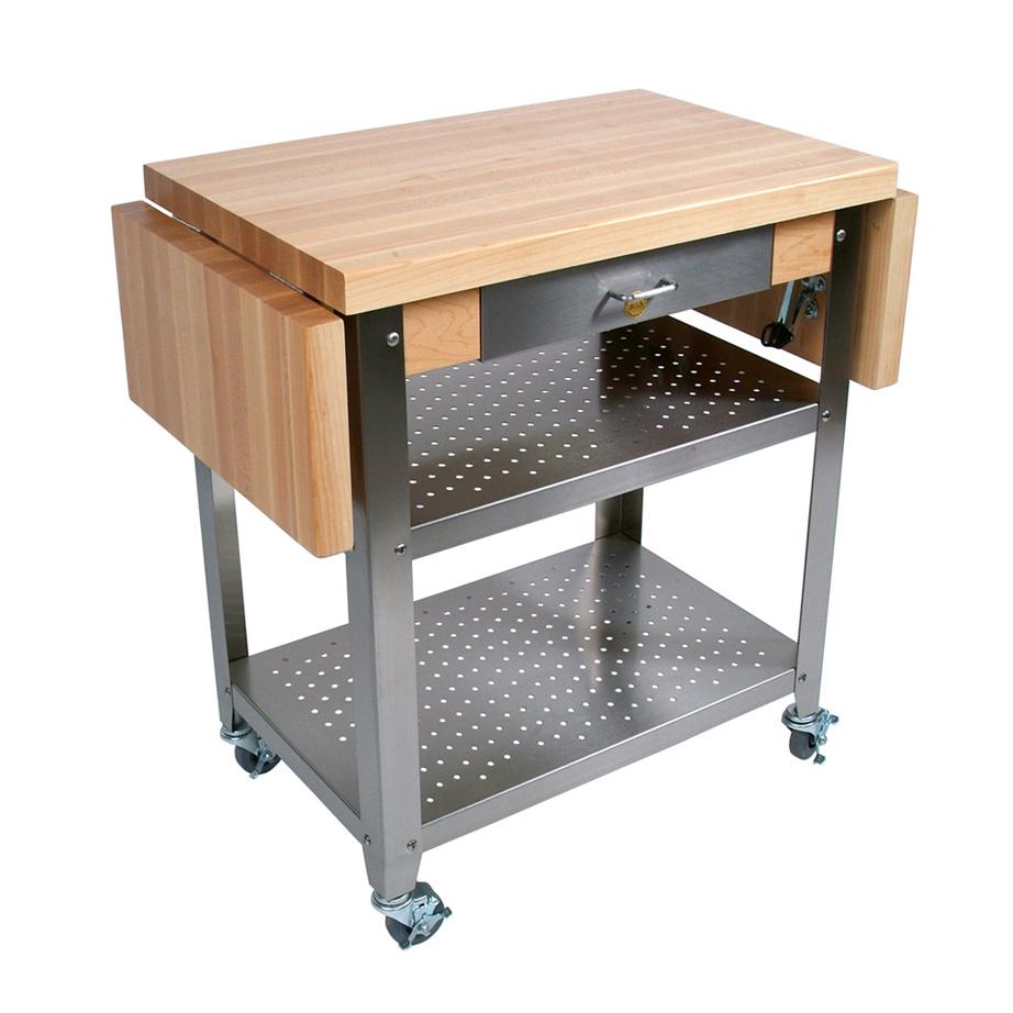 John Boos CUCE30 Cucina Elegante Cart w/ Undershelves, Drawer & NO Drop Leaves