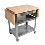 John Boos CUCE40 Cucina Elegante Cart w/ Undershelves, Drawer & 1 Drop Leaf