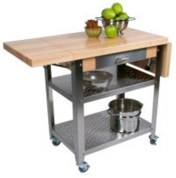 John Boos CUCE40 Cucina Elegante Cart w/ Undershelves, Drawer & 1 Drop Leaf
