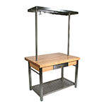 "John Boos CUCG10 Cucina Grande, Work Table, 2-1/4"" Maple Top, Varnique Finish, Stainless Base, 48 x 36"
