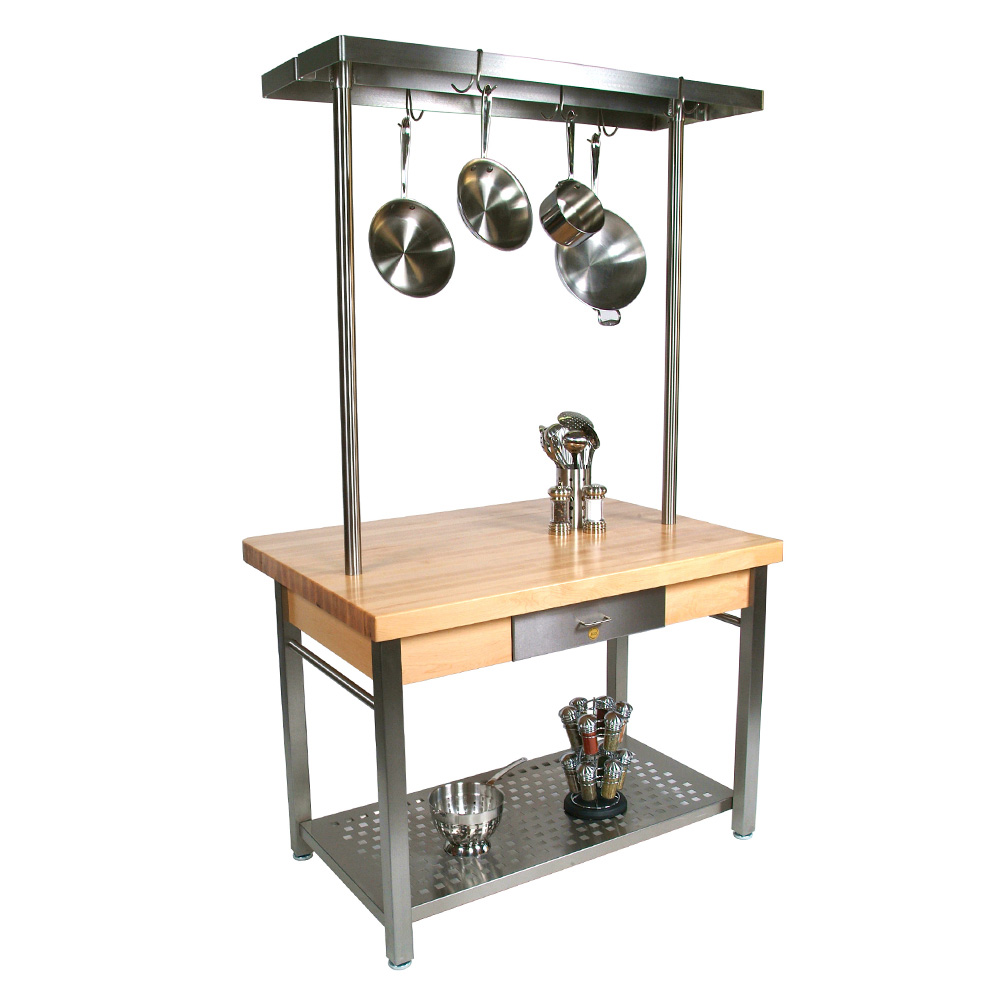 "John Boos CUCG11 Cucina Grande, Work Table, 2-1/4"" Maple Top, Varnique Finish, Stainless Base, 60 x 36"