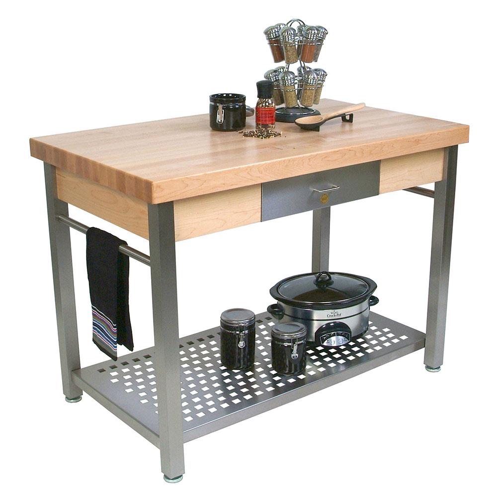 "John Boos CUCG21 Cucina Grande, Work Table, 2-1/4"" Maple Top, Varnique Finish, Stainless Base, 60 x 28"