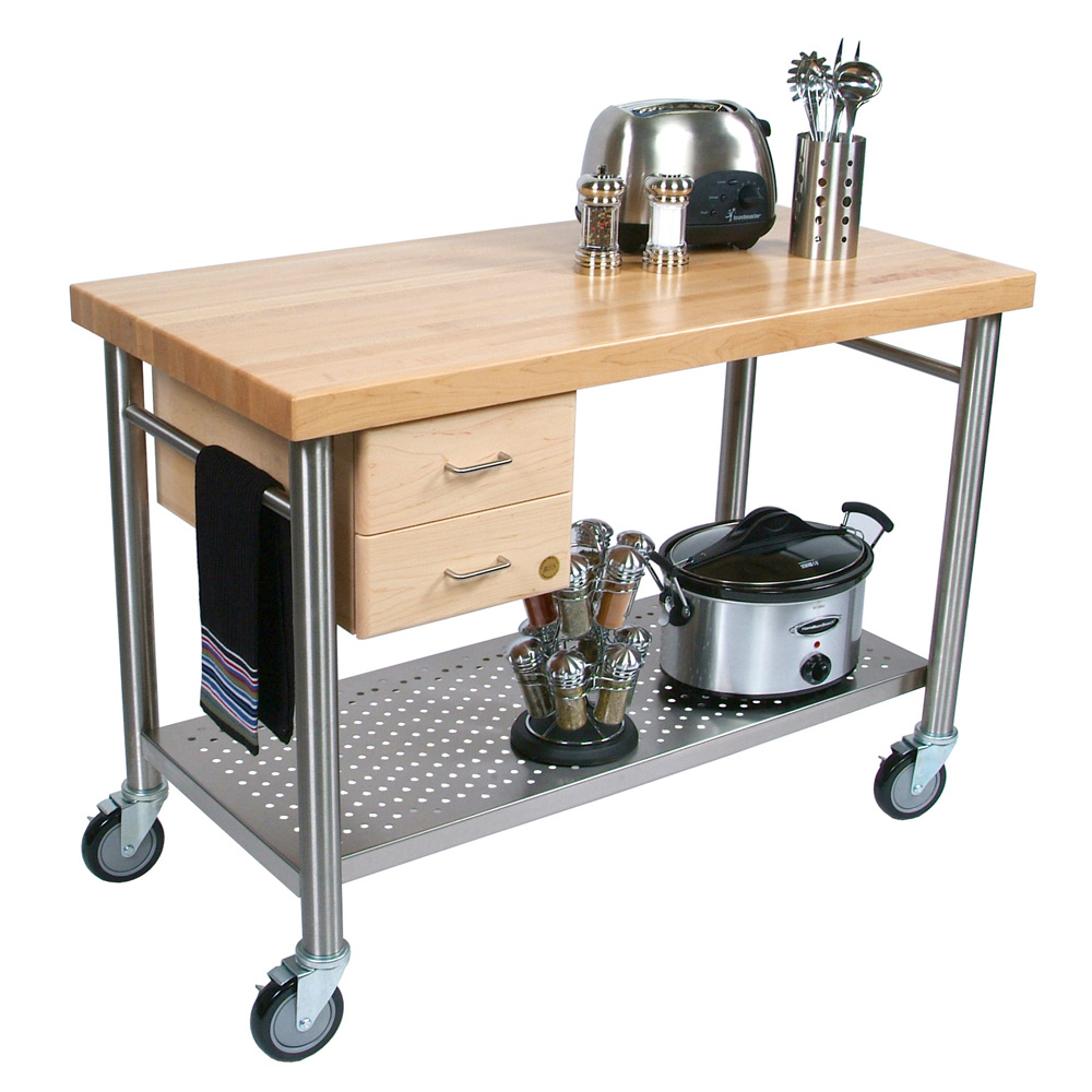 "John Boos CUCIC04 Cucina Magnifico Cart, 24 W x 48 L x 35""H, Drawers, Stainless Shelf, Electric Strip"