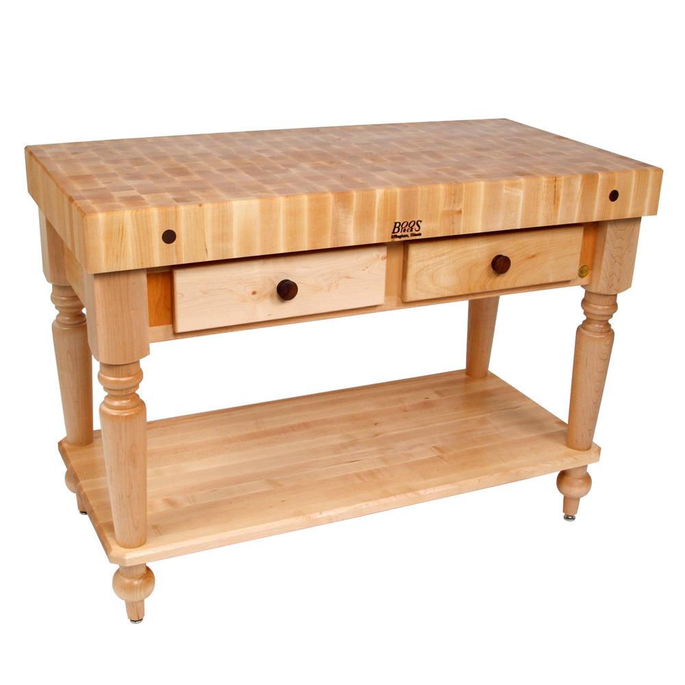 "John Boos CUCR04-SHF Cucina Rustica Table, 4 in End Grain Maple, 30 x 24"", Shelf"