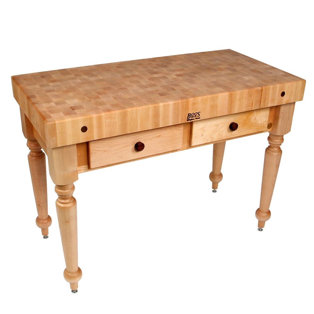 "John Boos CUCR05 Cucina Rustica Table, 4"" Thick, End Grain Maple, 48 x 24"" 416-CUCR05SHF"""