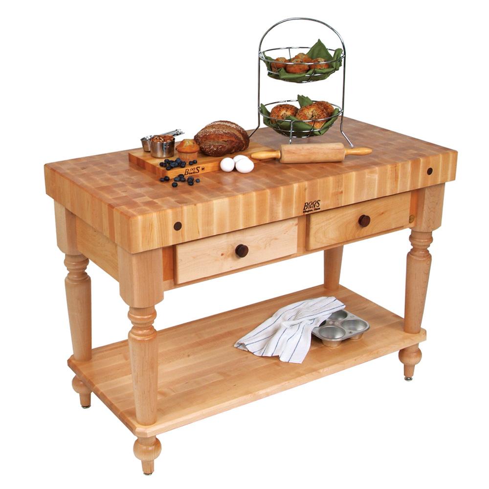 "John Boos CUCR05-SHF Cucina Rustica Table, 4 in End Grain Maple, 48 x 24"", Shelf"