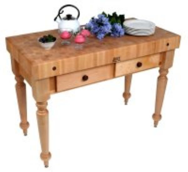 "John Boos CUCR05-SHF Cucina Rustica Table, 4 in End Grain Maple, 48 x 24"", Shelf"