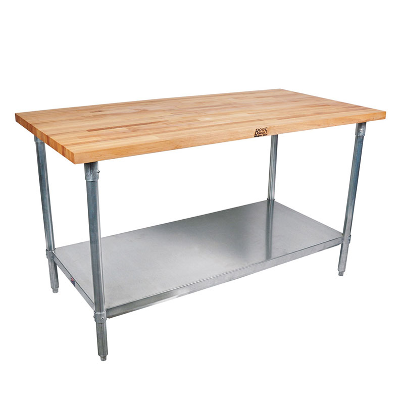 John Boos CUCSN10 Cucina Grandioso Work Table w/ Hard Rock Maple Flat Top, 36x70x30""