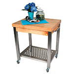 "John Boos CUCT04 Cucina Technica Cart, Stainless Undershelf, 2-1/4"" Rock Maple Top, 24 x 24"""