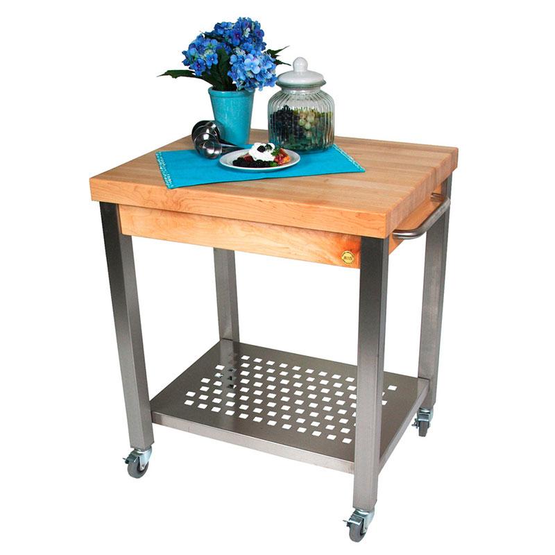 John Boos CUCT04 Cucina Technica Cart, S/S Undershelf, 2-1/4 in Rock Maple Top, 24 x 24 in