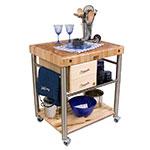 John Boos CUCT06 Cucina Toscano Cart, 24 in W x 30 in L x 35 in H, S/S & Wood Shelf, Drawers