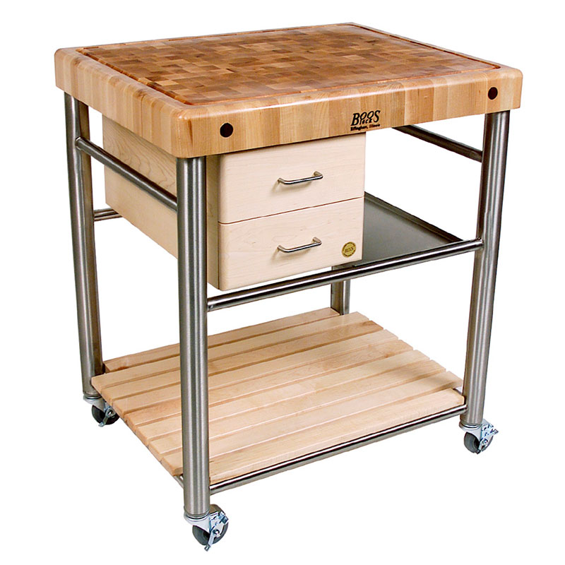 John Boos CUCT06 Cucina Toscano Cart, 24 in W x 30 in L x 35 in H, S/S & Wood Shelf, Drawers