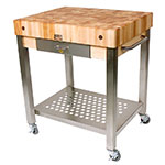 "John Boos CUCT14 Cucina Technica Cart, Stainless Undershelf, 4"" Rock Maple Top, 24 x 24"""