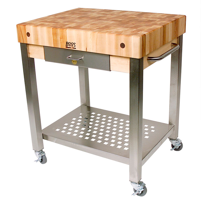 John Boos CUCT14 Cucina Technica Cart, S/S Undershelf, 4 in Rock Maple Top, 24 x 24 in