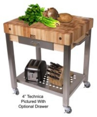 "John Boos CUCT24 Cucina Technica Cart, Stainless Undershelf, 4"" Rock Maple Top, 30 x 24"""
