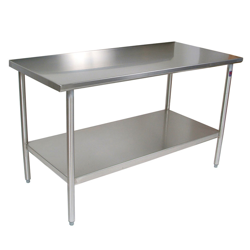 "John Boos CUCTA08 48"" 16-ga Work Table w/ Undershelf & 300-Series Stainless Flat Top"