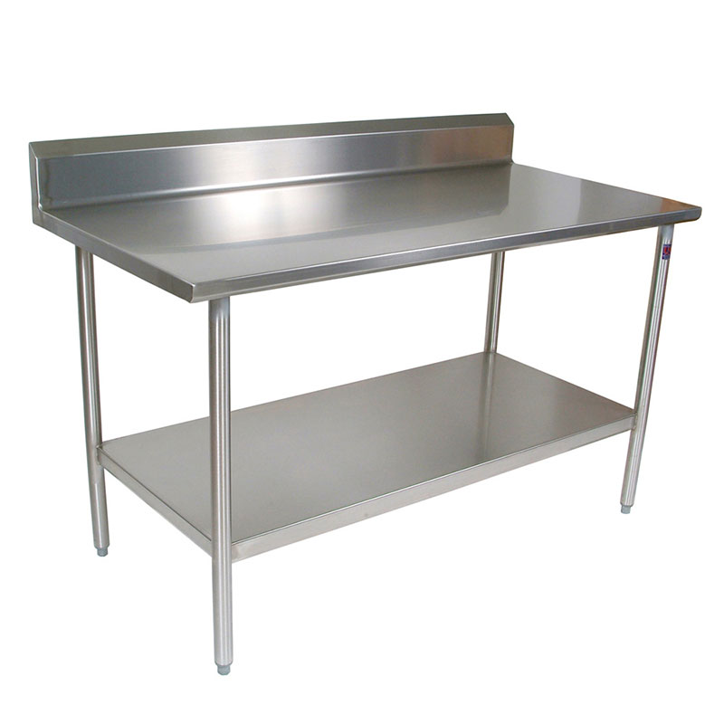 "John Boos CUCTA19 48"" 16-ga Work Table w/ Undershelf & 300-Series Stainless Flat Top"