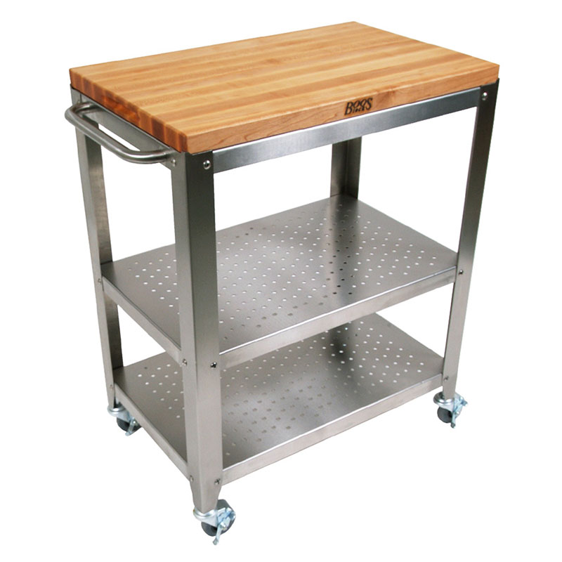 "John Boos CU-CULART30 Cucina Culinarte' Cart, 20""W x 30""L x 35""H, Removable Top, Stainless Shelf"