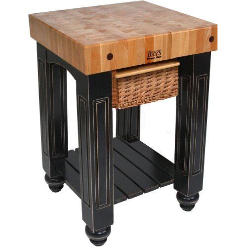 """John Boos CU-GB25-UG 25"""" Gathering Block Table, Hard Maple Top w/ Useful Gray Stain Base"""