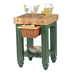 "John Boos CU-GB25-BS 25"" Gathering Block Table, Hard Maple Top w/ Basil Green Base"