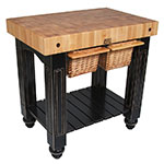 "John Boos CU-GB3624-BK 36"" Gathering Block Table II, Hard Maple Top w/ Caviar Black Base"