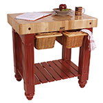 "John Boos CU-GB3624-BN 36"" Gathering Block Table II, Hard Maple Top w/ Barn Red Base"