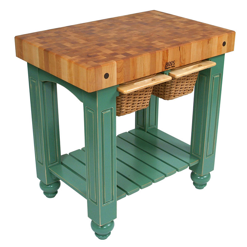 "John Boos CU-GB3624-BS 36"" Gathering Block Table II, Hard Maple Top w/ Basil Green Base"