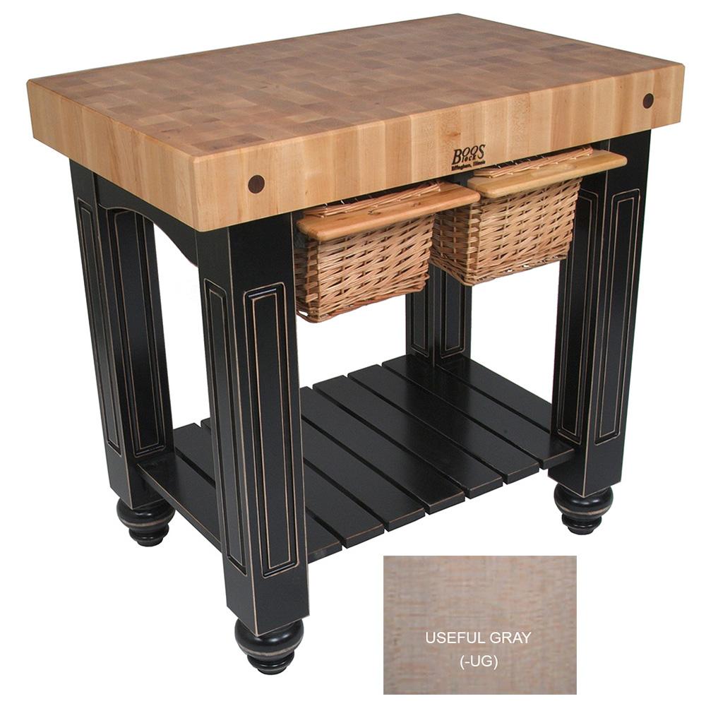 """John Boos CU-GB3624-UG 36"""" Gathering Block Table II, Hard Maple Top w/ Useful Gray Stain Base"""