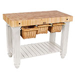 "John Boos CU-GB4824-AL 4"" Maple Top Butcher Block Work Table w/ Undershelf - 48""L x 24""D"