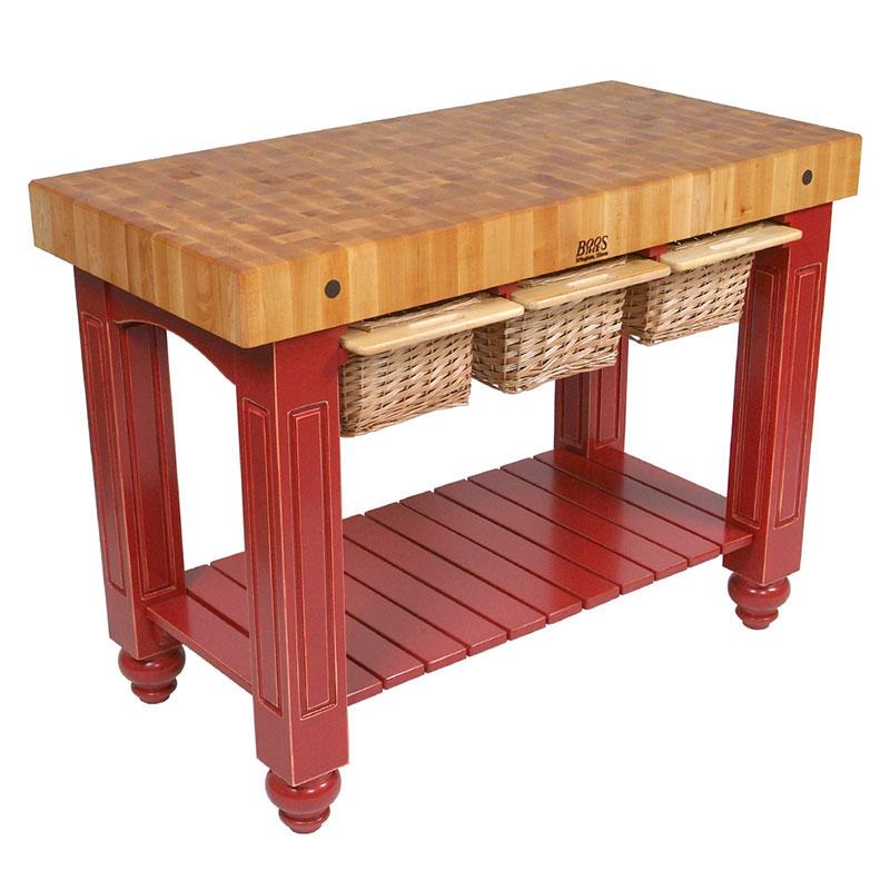 """John Boos CU-GB4824-BN 48"""" Gathering Block Table III, Hard Maple Top w/ Barn Red Base"""