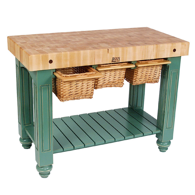 "John Boos CU-GB4824-BS 48"" Gathering Block Table III, Hard Maple Top w/ Basil Green Base"