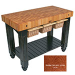 "John Boos CU-GB4824-CR 48"" Gathering Block Table III, Hard Maple Top w/ Warm Cherry Stain Base"