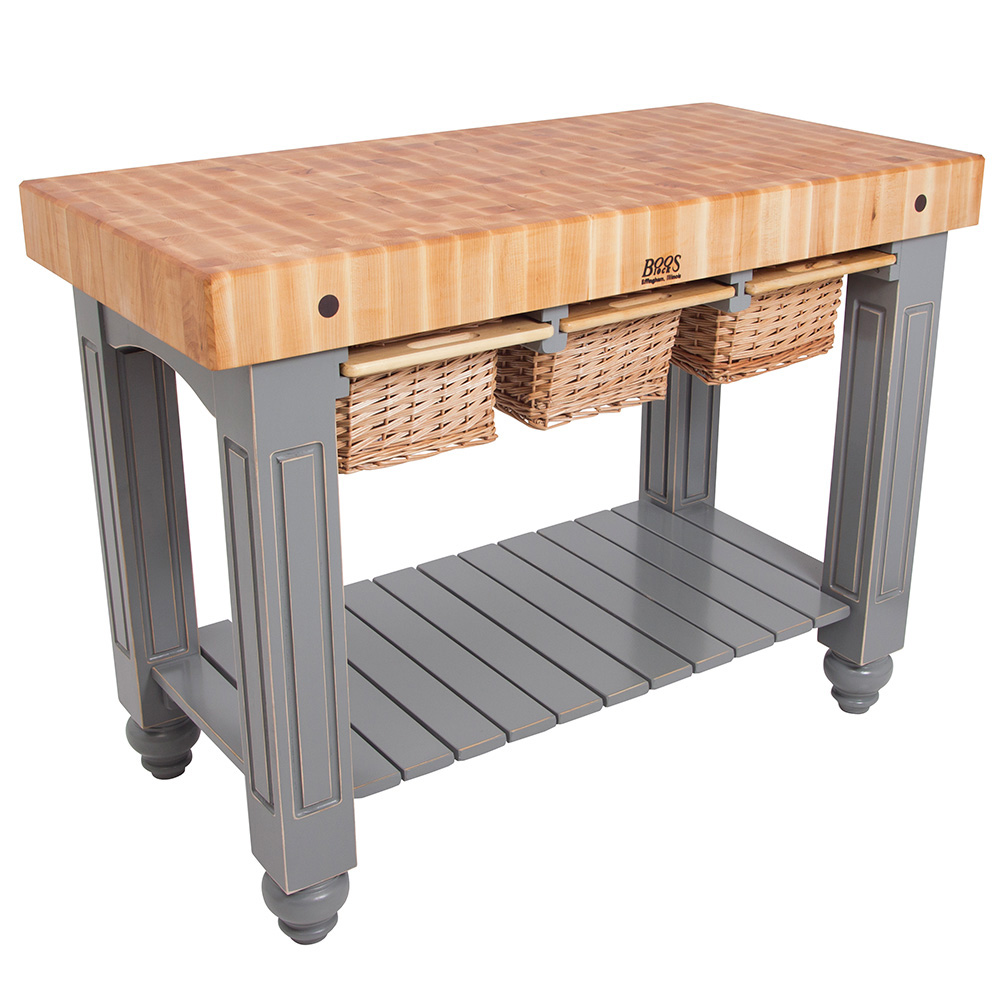 "John Boos CU-GB4824-UG 48"" Gathering Block Table III, Hard Maple Top w/ Useful Gray Stain Base"