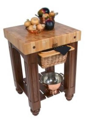 John Boos CU-GB3624-WB Gathering Block, 4 in Maple Top, Black Walnut Base, Basket, Shelf, 36 x 24 in