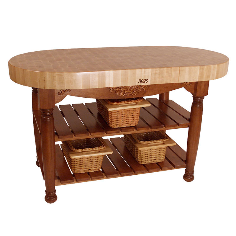 "John Boos CU-HAR60-CR 60"" Oval Butcher Block, Hard Maple Top w/ Warm Cherry Stain Base"