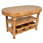 "John Boos CU-HAR60-N 60"" Oval Butcher Block, Hard Maple Top w/ Natural Maple Base"