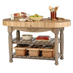 "John Boos CU-HAR60-UG 60"" Oval Butcher Block, Hard Maple Top w/ Useful Gray Stain Base"