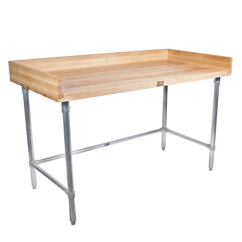 John Boos DNB11 Work Table w/ Maple Wood Top & Galvanized Legs, 96 x 30-in