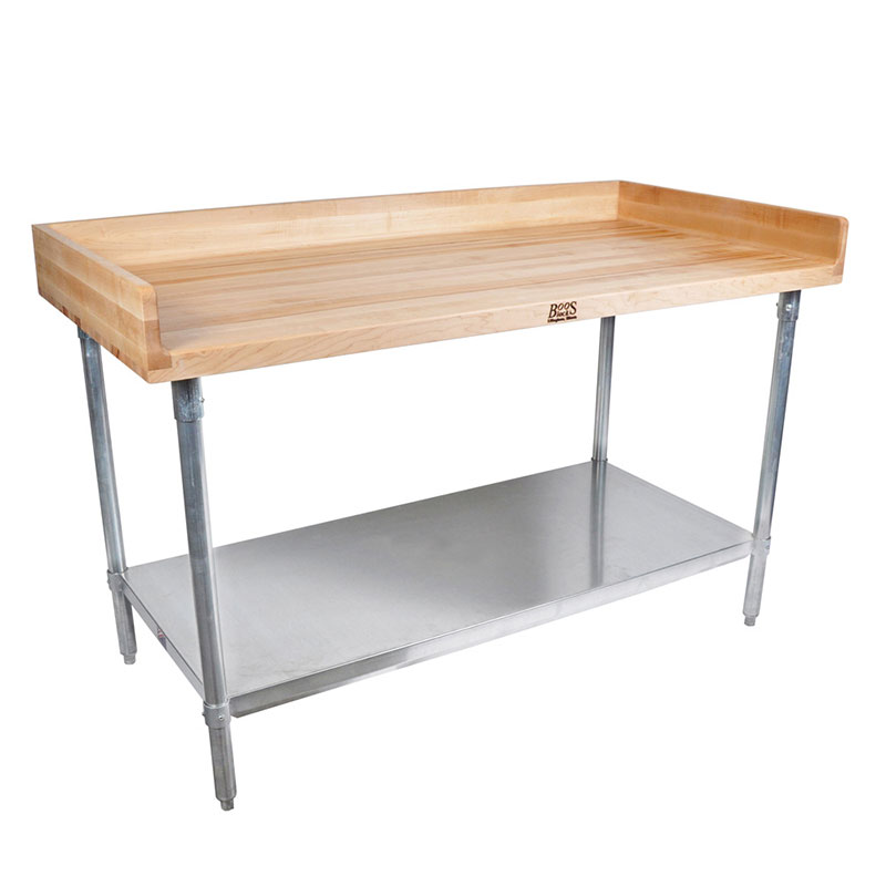 "John Boos DNS11 96"" Maple Top Bakers Table w/ 4"" Splash & Undershelf, 30""D"