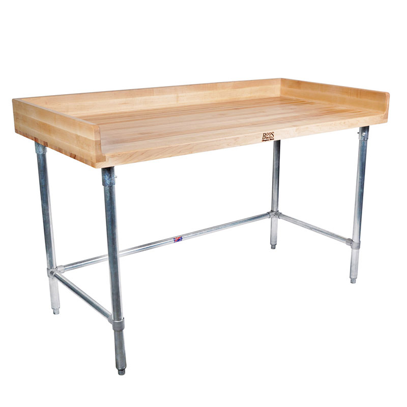 "John Boos DSB09 96"" Maple Top Bakers Table w/ 4"" Splash & Open Base, 30""D"