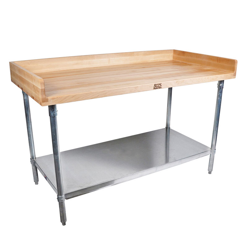 "John Boos DSS09 96"" Maple Top Bakers Table w/ 4"" Splash & Undershelf, 30""D"