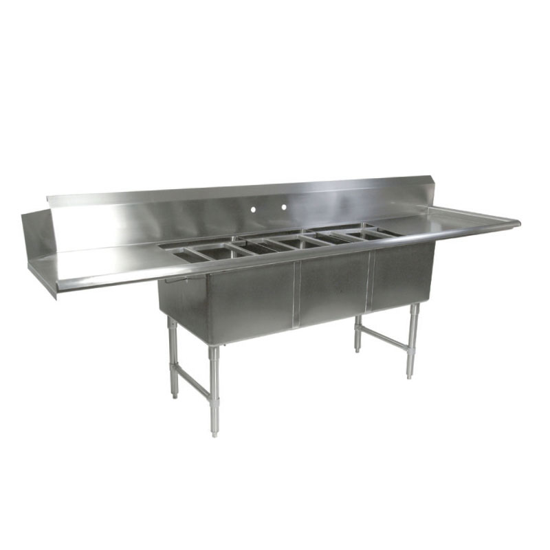 "John Boos DT3B18244-2D18L 91.5"" Straight Clean Dishtable w/ (3) Pot Sinks & (2) Drainboards, L-R"