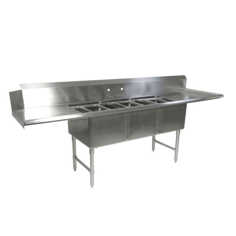 """John Boos DT3B18244-2D18R 91.5"""" Straight Clean Dishtable w/ (3) Pot Sinks & (2) Drainboards, R-L"""